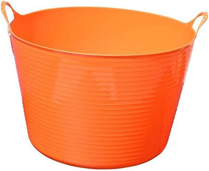Tuff Stuff Products F16-BK 64 Quart Perforated Colander UV Resistant Sieve Multi Purpose Tub Pail for Garden, Home, or Farm, Orange