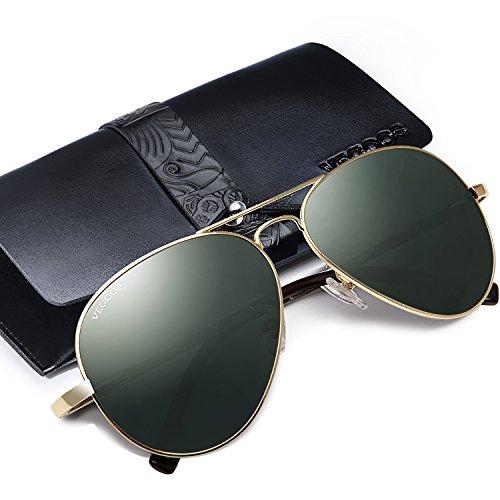 UV Lunette Polarisée Étui Or Vert Avec 400 Miroir de Soleil Aviateur VEGOOS Homme Cadre Protection Lunettes Lentille Udqw8xpAp
