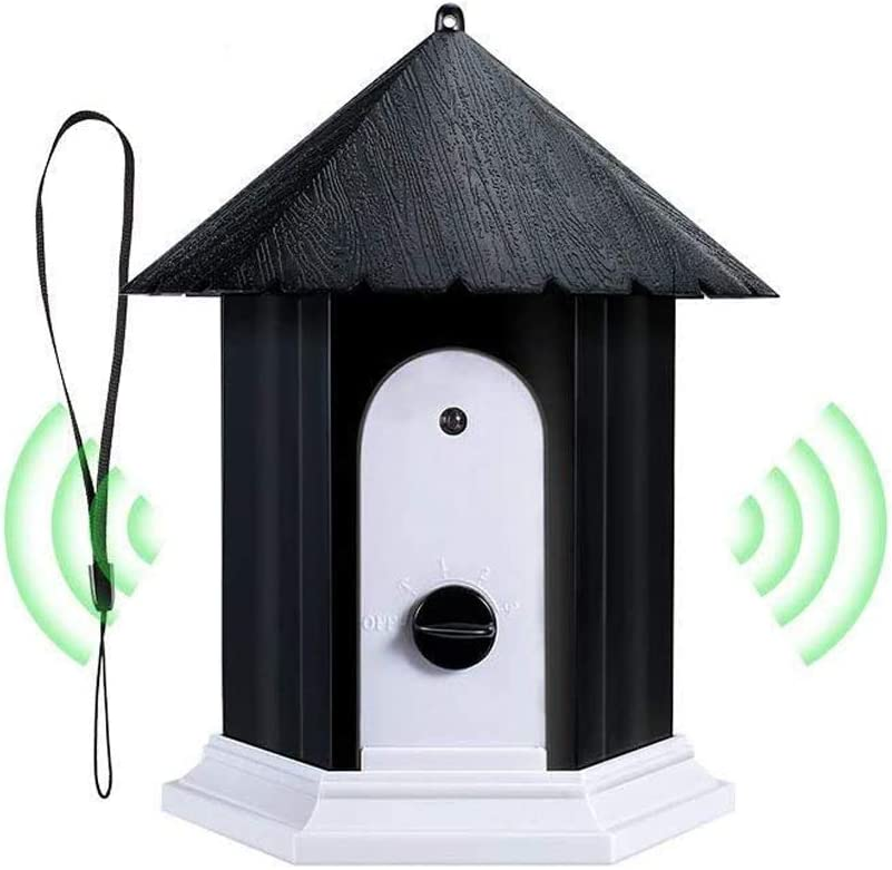 AIQNI Ultrasonic Dog Bark Control Outdoor Dog Anti Bark Preventive Stop Barking Device Cute Bird House Box Design Waterproof for Home Garden Hanging Battery Operated