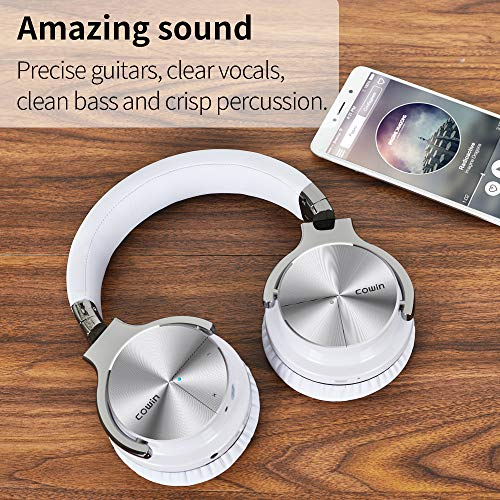 COWIN E7 PRO [Upgraded] Active Noise Cancelling Headphone Bluetooth Headphones with Microphone Hi-Fi Deep Bass Wireless Headphones Over Ear 30H Playtime for Travel/Work/TV/Computer/Cellphone - White
