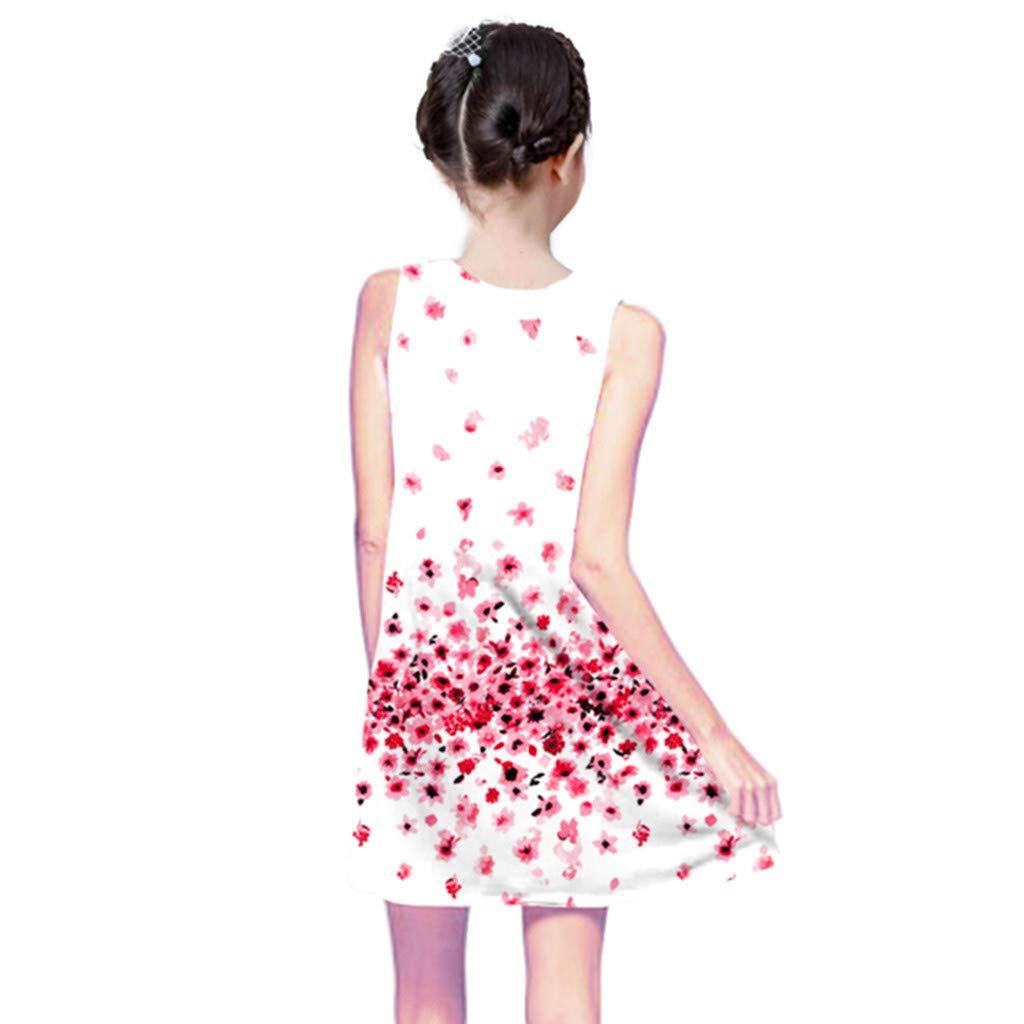 MRULIC Filles /ét/é Toddler Robes sans Manches Robe /à Fleurs Fille Robe Casual Col Rond Demoiselle Robe Robe Filles Enfants Filles D/ét/é Robe de Plage en Vacances Impression Jupe de Danse 4-9 Ans