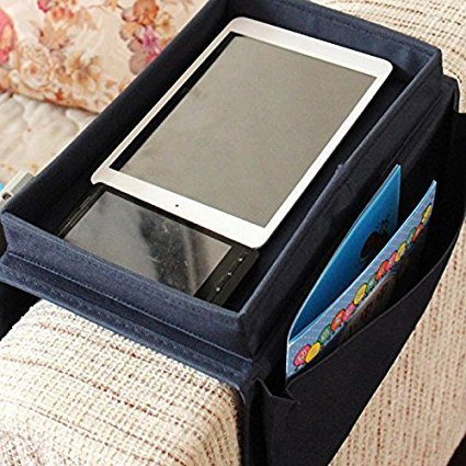Compra Organizador Yunqi ideal para colocar en el apoyabrazos del sofá, con portavasos, bandeja y bolsillos amplios negro en Amazon.es