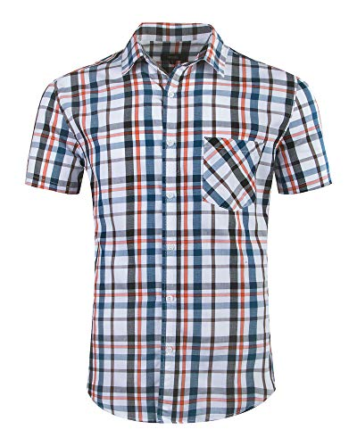 ALTOGUSTO Mens Short Sleeve Casual Plaid Button Down Shirts Work Slim Fit Western Dress Shirts for ()