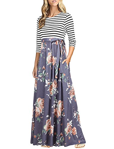 HNNATTA Women 3/4 Sleeve Striped Floral Print Tie Waist Party Maxi Dress with Pockets (X-Large, Gray Roses)