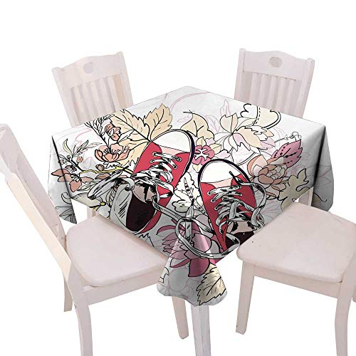 longbuyer Dinning Tabletop Decoration Gumshoes Sketch Flower Square Tablecloth W 54
