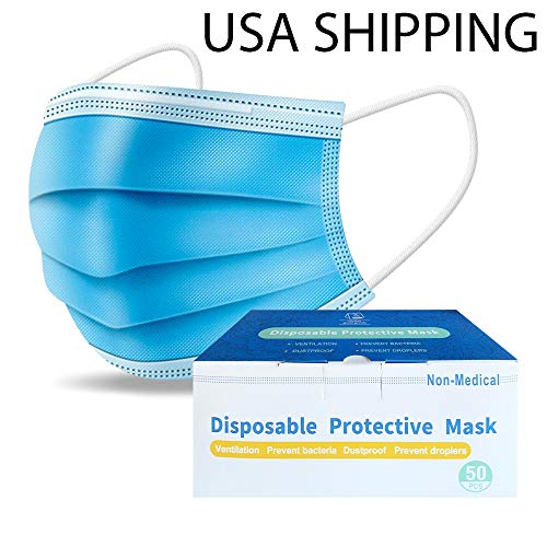50 PCS Disposable Face Protection for General Use Triple Ply Pollution Health Dust Filter Face Protective PPE First Class Ship
