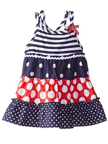 Youngland Infant Girls Patriotic Striped Ruffled Dress Polka Dot Sundress 12m Blue