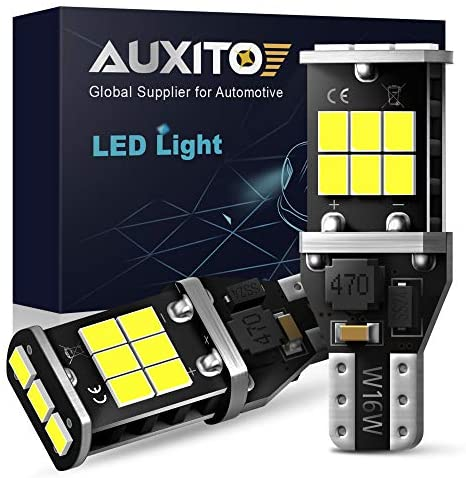 AUXITO 912 921 LED Backup Light Bulbs High Power 2835 15-SMD Chipsets Error Free T15 906 W16W for Back Up Lights Reverse Lights, 6000K White (Upgraded, Pack of two)
