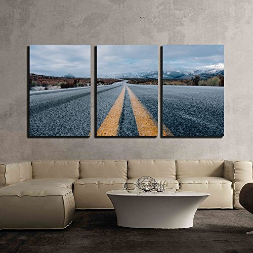 wall26 - 3 Piece Canvas Wall Art - a Asphalt Road Lead to The Mountain - Modern Home Decor Stretched and Framed Ready to Hang - 24