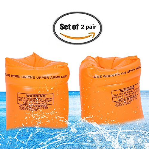 LLOP Swim Rollup Fabric Arm Bands floats Sleeves Swimming Trainers Floatation Armbands Rings floatie Tube Armlets (2 Pairs)