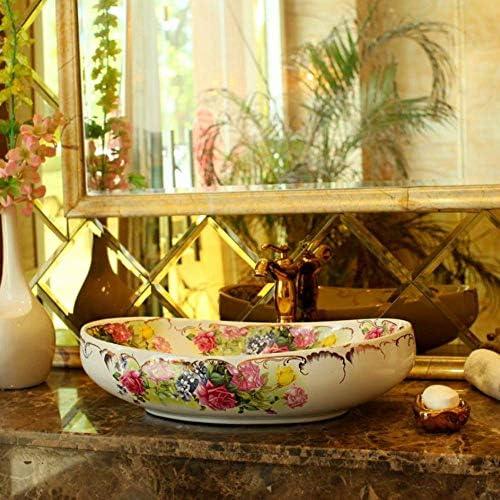 ZKS-KS オーバルセラミック洗濯洗面器の浴室のシンクカウンタービッグフラワーパターンの磁器洗面化粧台バスルームのシンクボウル