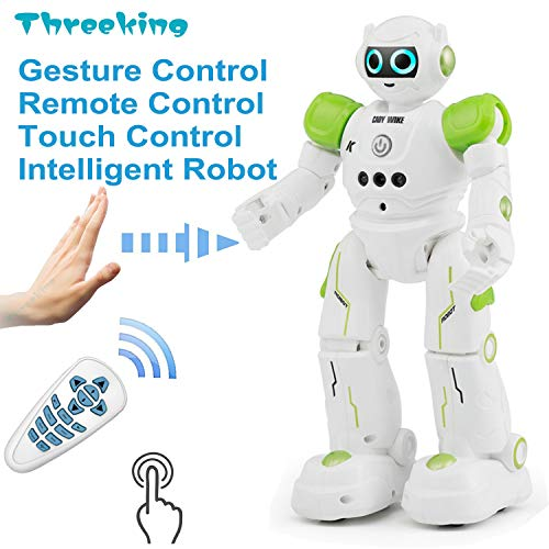 Threeking Smart Robot Toys Gesture Control Remote Control Robot JJRC Robot Gift for Boys Girls Kid's Companion:Game Learning Music Dance...Rechargeable Rc Robot Toy - - Robot Green