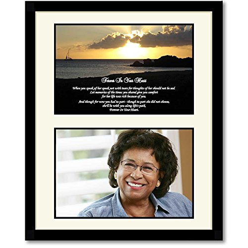 Sympathy Gift for Her - Forever In Your Heart Poem - Touching Condolence Poem in Black Frame - Add Photo