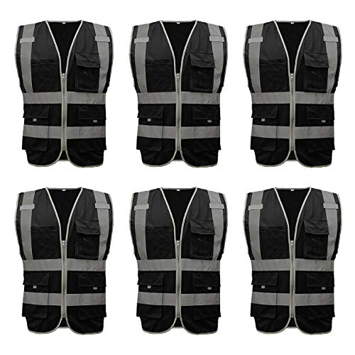 TOPTIE 6 PCS US Size High Visibility Zipper Front Safety Vest With 9 Pockets, Construction Workwear-Black-US S