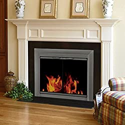 Pleasant Hearth CR-3400 Craton Fireplace Glass Door, Gunmetal from GHP Group -- Drop Ship Only