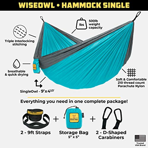 Portable Lightweight Parachute Nylon Wise Owl Outfitters Hammock By Single /& Double Camping Hammocks Gear For The Outdoors Backpacking Survival or Travel