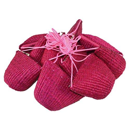 Pequenos Mini Bolsos De Hombro Crossbody Paja Estilo Vintage Cremallera De Tejido En Forma De Concha Rosa Roja