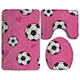 Cute Soccer Ball Print 3 Piece Bathroom Rug Mat Set Soft Memory Foam Bath Carpet Contour Rug With Lid Cover
