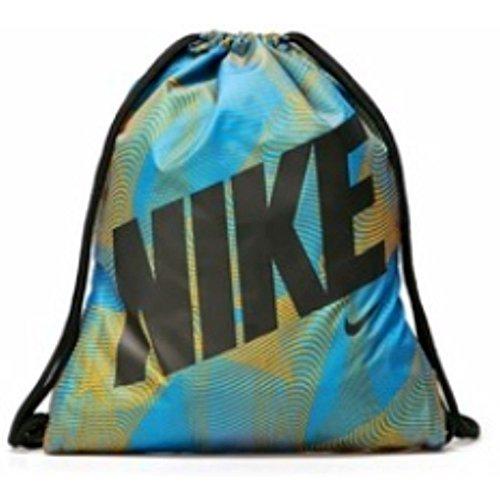 NIKE Graphics Young Athlete Drawstring Gymsack Backpack Sport Bookbag (Photo Blue/Atomic Mango Swirl with Black Name Logo) ()