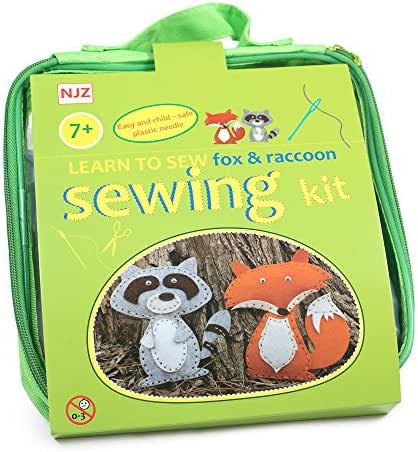 Sewing Kit For Kids Age 7 to 12. Learn How To Sew. Easy Diy Craft Felt Animals Sewing With Big Holes For Beginners.