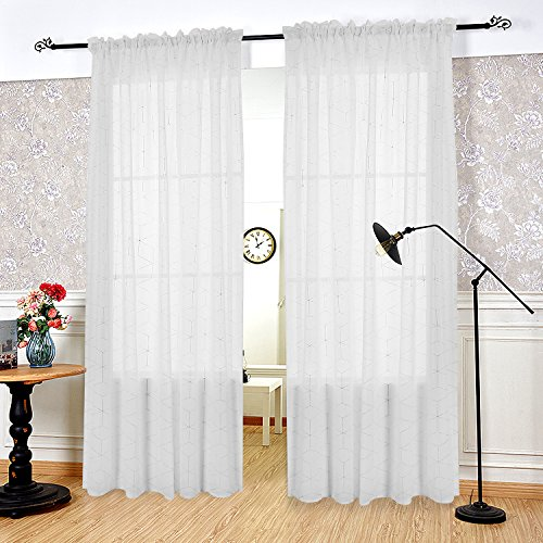 Deconovo White Sheer Curtains Sliver Diamond Linen Curtains and Drapes for Bedroom 52W x 84L Inch 1 - White Sliver