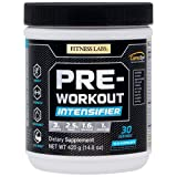 Fitness Labs Pre-Workout Intensifier with 3g L-Citrulline, 2.5g Betaine, 1.6g Beta-Alanine, 1g Arginine AKG, B Vitamins, Electrolytes and More, 30 Servings (Natural Blue Raspberry)