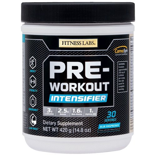Fitness Labs Pre-Workout Intensifier with 3g L-Citrulline, 2.5g Betaine, 1.6g Beta-Alanine, 1g Arginine AKG, B Vitamins, Electrolytes and More, 30 Servings (Natural Blue - Intensifier Thermogenic
