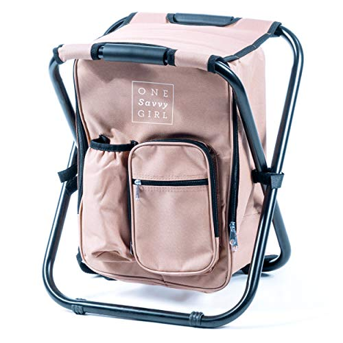 Festival Cooler - One Savvy Girl Ultralight Backpack Cooler Chair - Compact Lightweight and Portable Folding Stool - Perfect for Outdoor Events, Travel, Hiking, Camping, Tailgating, Beach, Parades & More
