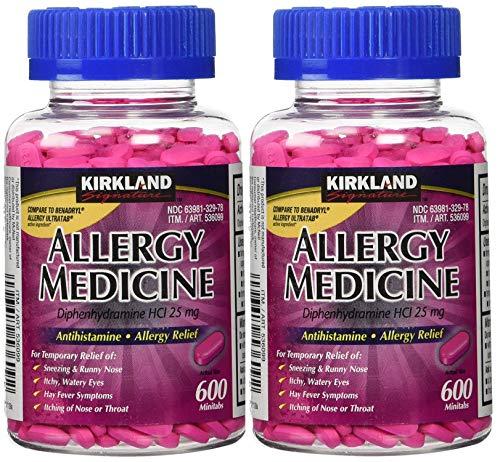 (Kirkland Signature Allergy Medicine Diphenhydramine HCI 25 mg - 600 Minitabs - 2 Pack )