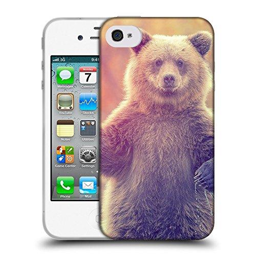 Just Phone Cases Coque de Protection TPU Silicone Case pour // V00004086 Ourson debout dans l'eau // Apple iPhone 4 4S 4G