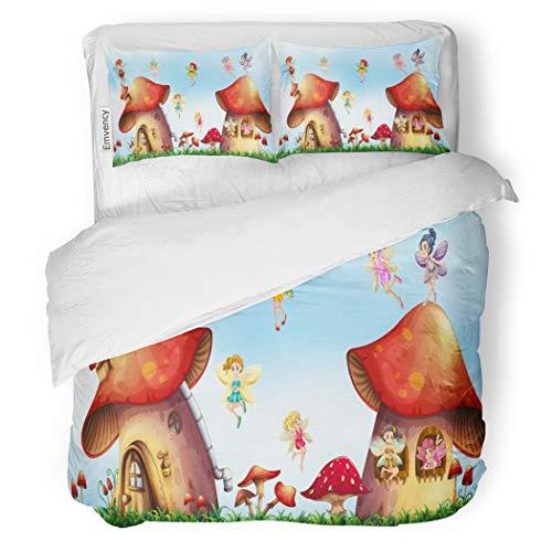 SanChic Duvet Cover Set Fairy Scene Fairies Flying Around Mushroom Houses Magic Girl Clip Decorative Bedding Set 2 Pillow Shams King Size