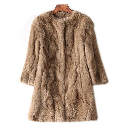 SPRINGWIND 100% Real Women Rabbit Fur Coat Overcoat Garment Long Jacket Coat