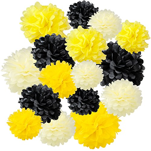 Floral Reef Variety Set of 16 (Assorted Honey Bee Yellow Color Pack) consisting of 8 10 14 Tissue Paper Pom Poms Flower