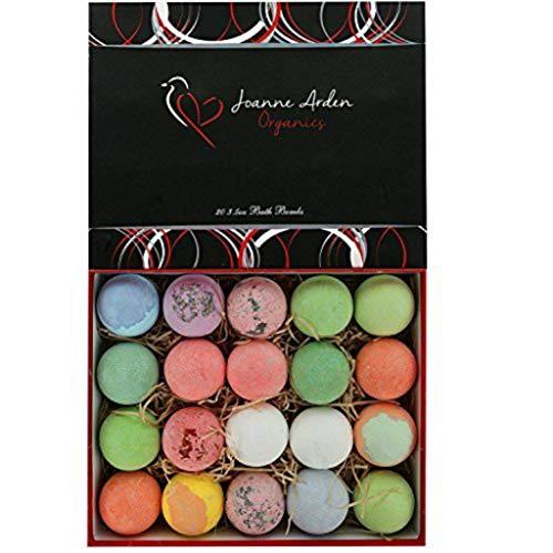20 HUGE Joanne Arden Organics USA Vegan Bath Bombs Kit. Gifts For Women, Mom, Girls, Teens, Her - Ultra Lush Spa Fizzies - Best Gift Ideas, Premium Lush Bath Bombs - Bath Fizz Balls