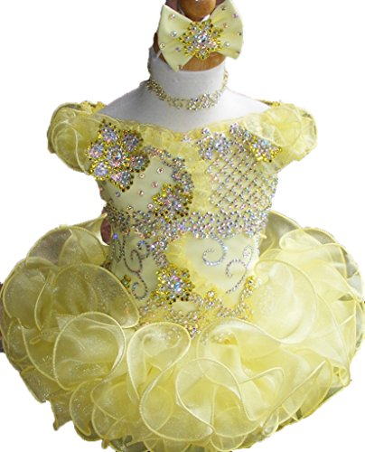 Oudy Infant Girls Off Shoulder Glitz Pageant Cupcake Dress Mini Birthday Gown 8 US (Halloween Glitz Pageant Dresses)