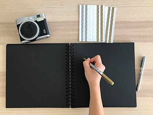 Black Guest Book, Photo Booth Album, Scrapbook, Blank Square Spiral Bound Cardboard Hardcover, 40 Sheets (10 Inches) by StrawCoco (Image #3)