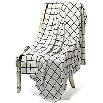 "Bertte Ultra Velvet Plush Super Soft Decorative Throw Blanket-50""x 60"", Black& White Plaid"