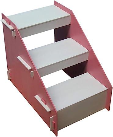 XUEYAN Taburete de Madera de 3 Pasos para niños, Escalera de Mascotas Escalera para Perros pequeños y Gatos para Camas Altas y sofá (Color : Pink): Amazon.es: Hogar