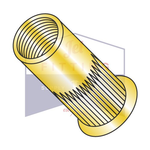 M6-1.0X3.20 Small Flange Ribbed Threaded Insert (Rivet Nut)   Metric   Thin Wall   Open End   Low Carbon Steel   Zinc Yellow Plated (QUANTITY: 2000)