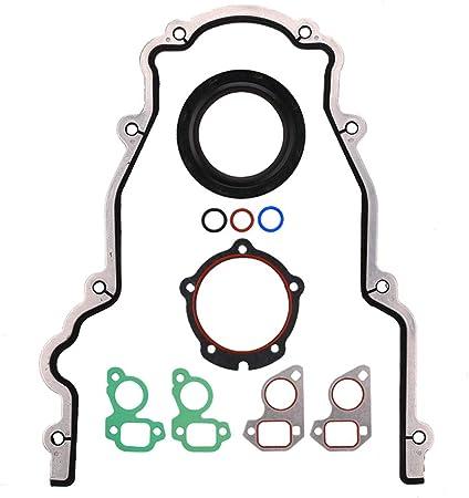 Yukon Replace 12612350 OS30693R Oil Pan Gasket Set GMC Sierra Trailblazer Cadillac Escalade Compatible with 4.8L 5.3L 6.0L 6.2L Chevy Silverado Tahoe Suburban