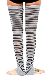 Black & Charcoal Super Long 40 Inch Thigh High Striped Leg Warmers KD dance New York Sexy Stretch Knit Dancewear Activewear Loungewear Fashion Sophisticated Made In USA