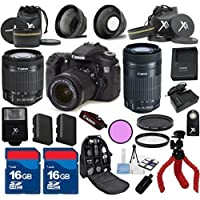 Canon EOS 70D Camera Body with Canon 18-55mm IS STM Lens Premium Bundle with Canon 55-250mm IS STM Zoom + 24pc Accessory Bundle Kit - International Version Overview Review Image