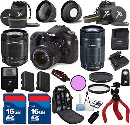 Canon 70D Camera Body For 18-55mm IS STM + 55-250mm IS STM + 3Pc Filter Kit + Wide Angle + Spider Tripod + Extra Battery + 2pcs 16GB Memory Cards + 24pc Kit - International Version