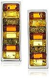 Sterling Silver Multi-Color Amber Slider Earrings
