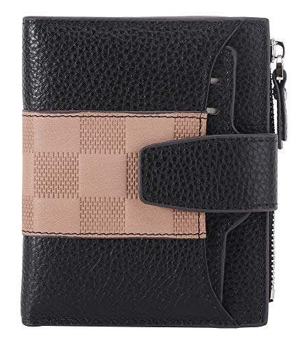 AINIMOER Women's RFID Blocking Leather Small Compact Bi-fold Zipper Pocket Wallet Card Case Purse(Stitched Black and Pink) (Best Purse To Stay Organized)