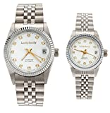 Gift w/ Box Luxury Pair of Couples Lovers Women Men Diamond Stainless Steel Automatic Self Wind Date Watch White Sliver