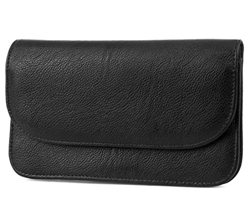Leather Small Flap (Mundi Womens Slim Flap Envelope Leather Clutch RFID Blocking Wallet With Safe Keeper Technology)