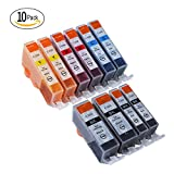 Tactink PGI 225 CLI 226 Ink Cartridges Compatible Canon Ink Tank Pigment for Cannon Printer PIXMA MG5320 MG5220 MG6120 IX6520 IP4820 Replacement (2 L Black, 2 C, 2 M, 2 Y, 2 S Black) 10 Combo Packs