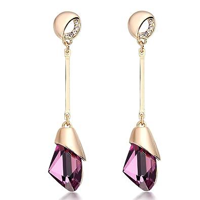 9c1e5262e Amazon.com: CNCbetter Women Fashion Jewelry Austrian Crystal Charms Purple  Teardrop Stud Earring for Party Banquet: Jewelry