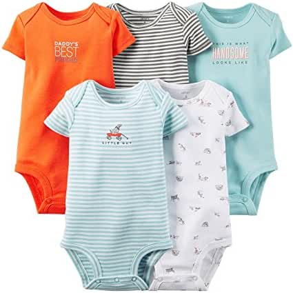 Carter's Baby Boys' 5 Pack Bodysuits (Baby) - Light Assorted 3M